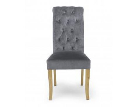 Shankar Pair of Bronte Brushed Velvet Grey Dining Chair
