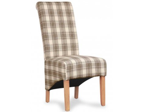 Shankar Pair of Krista Herringbone Brown Check Chair