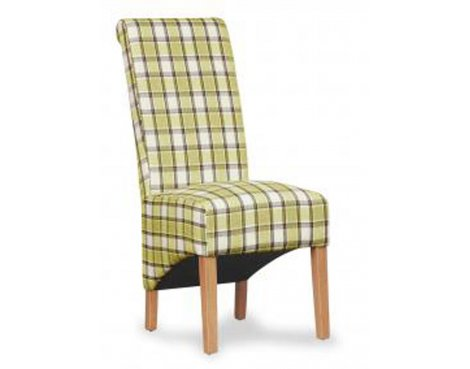 Shankar Pair of Krista Herringbone Lime Check Chair