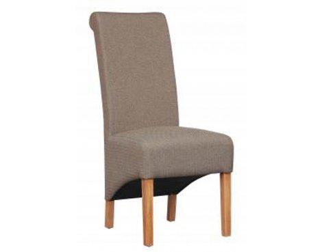 Shankar Pair of Krista Herringbone Brown Fabric Chair