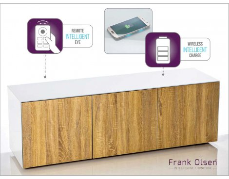 Frank Olsen INTEL1500WOK White and Oak TV Cabinet For TVs Up To 70""