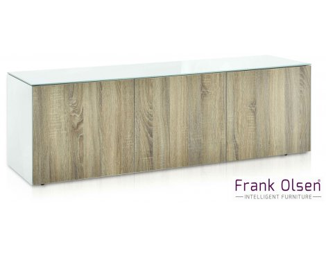 """Frank Olsen INTEL1500WOK White and Oak TV Cabinet For TVs Up To 70\"""" FREE IPHONE CASE"""