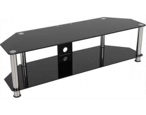 "AVF Universal Black Glass and Chrome Legs TV Stand For up to 65"" TVs"