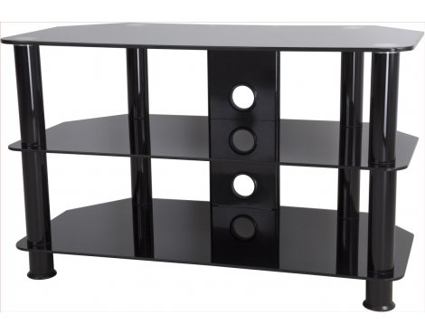 "AVF Universal Black Glass and Black Legs TV Stand For up to 40"" TVs"