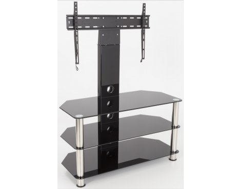 "AVF Universal Black Glass and Chrome Legs Cantilever TV Stand For up to 55"" TVs"