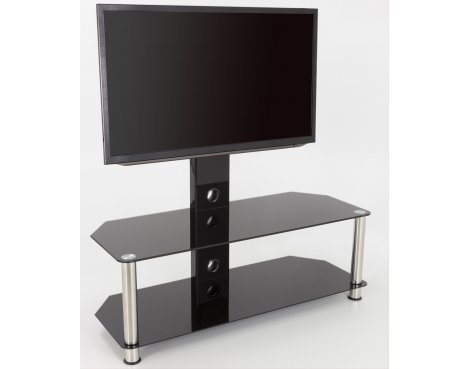 "AVF Universal Black Glass and Chrome Legs Cantilever TV Stand For up to 65"" TVs"