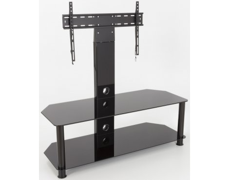 "AVF Universal Black Glass and Black Legs Cantilever TV Stand For up to 65"" TVs"