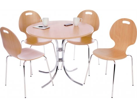 DSK Bistro Cafe Table and Chair Set - Light Wood
