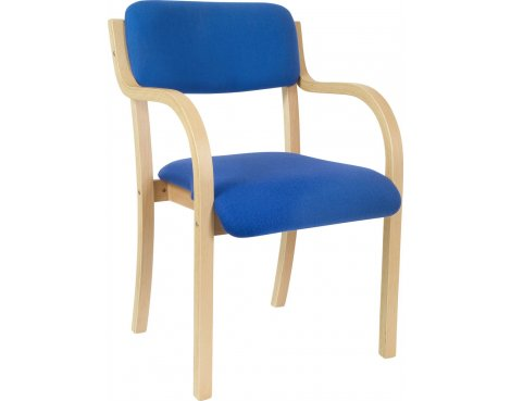 DSK Camden Curved Wood Reception Chair - Blue