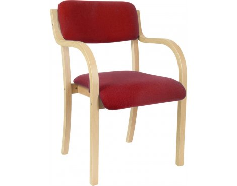 DSK Camden Curved Wood Reception Chair - Burgundy