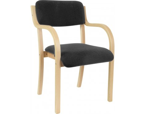 DSK Camden Curved Wood Reception Chair - Charcoal