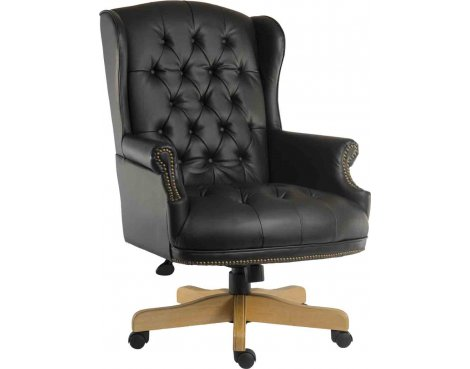 DSK Chairman Large Leather Executive Chair - Black