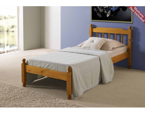 Amani Colonial Spindle Honey Pine Bed Frame Double - No Drawers