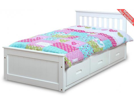 Amani Pine Mission Single Slat Bed with Storage -  3 Drawers
