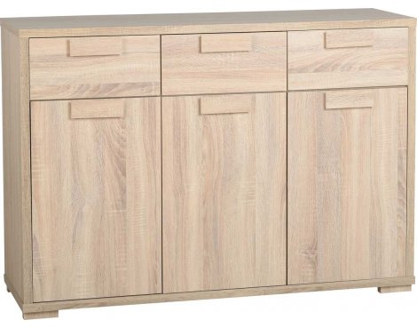 ValuFurniture Cambourne 3 Door 3 Drawer Sideboard - Sonoma Oak Effect