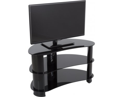 "AVF FS850CURBB Jelly Bean Curved Glass TV Stand For up to 40"" TVs - Black Glass & Black Legs"