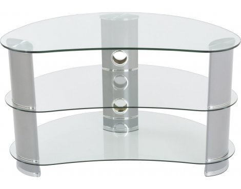 "AVF Curved Glass TV Stand For up to 40"" TVs - Clear Glass & Chrome Legs"