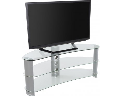 "AVF Curved Glass TV Stand For up to 60"" TVs - Clear Glass & Chrome Legs"