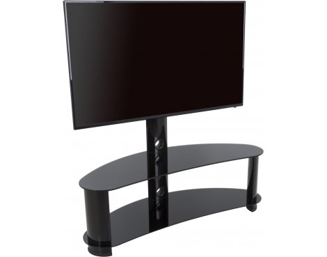 "AVF Curved Cantilever TV Stand For up to 55"" TVs - Black Glass & Black Legs"