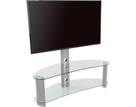 "AVF Curved Cantilever TV Stand For up to 55"" TVs - Clear Glass & Chrome Legs"