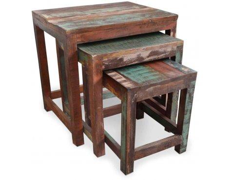 Shankar New England Reclaimed Timber Nest of Tables