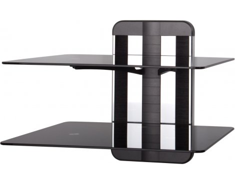 AVF Unimax TV & AV Accessory Double Shelf - Polished Aluminium and Black Trim
