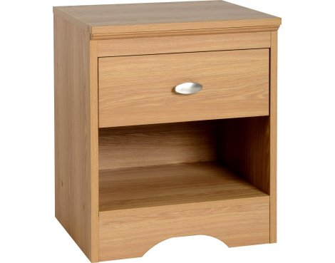 ValuFurniture Regent 1 Drawer Bedside Chest - Teak