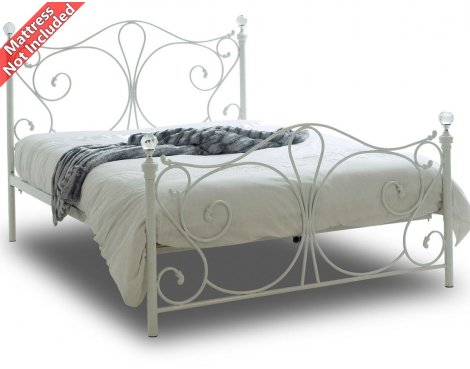 Sareer Sherry White King Sized Metal Bed Frame