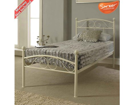 Sareer Devon Single White Metal Bed Frame