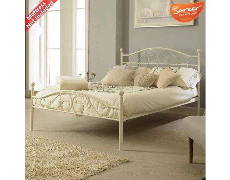 Sareer Devon Double White Metal Bed Frame