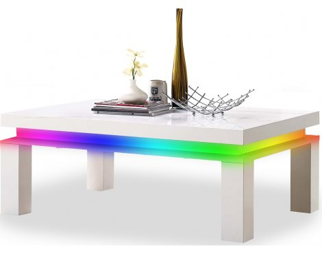 MMT White High Gloss Coffee Table with RGB LED Lighting