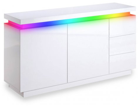MMT White High Gloss 2 Door 3 Drawer Sideboard with RGB LED Lighting