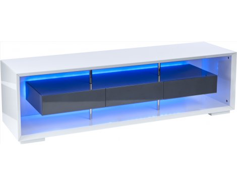 "MMT White High Gloss TV Stand For TVs upto 60"" with RGB LED Lighting"
