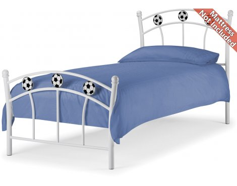Julian Bowen Soccer High Gloss White Bed Frame - Single