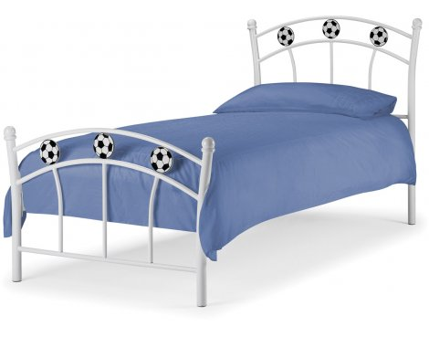 Julian Bowen Soccer High Gloss White Bed Frame & Mattress - Single