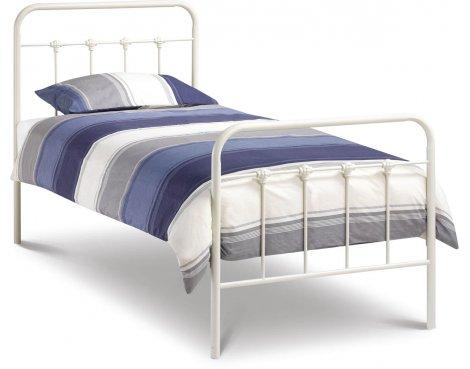 Julian Bowen Papplewick Stone White Bed Frame & Mattress - Single