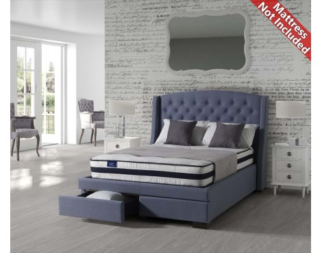Sareer Sovereign Fabric Bed Frame with 2 Drawers - King Size 5ft - Blue
