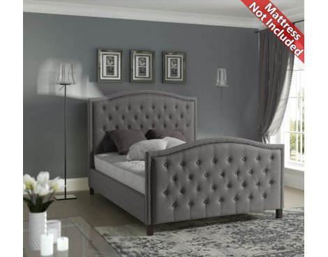 Sareer Marcell Luxury Studded Fabric Bed Frame - King 5ft - Grey