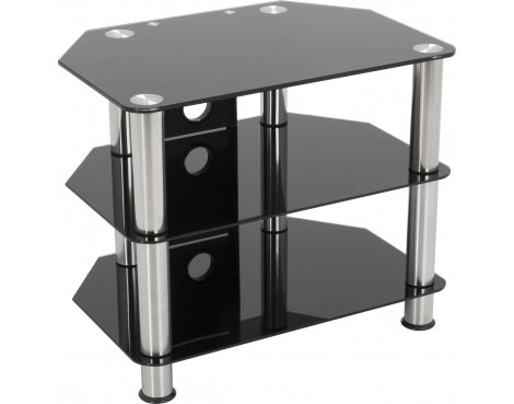"AVF Universal Black Glass and Chrome Legs TV Stand For up to 32"" TVs"