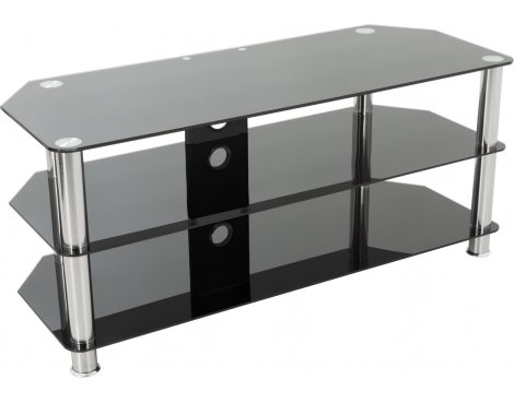 "AVF Universal Black Glass and Chrome Legs TV Stand For up to 50"" TVs"