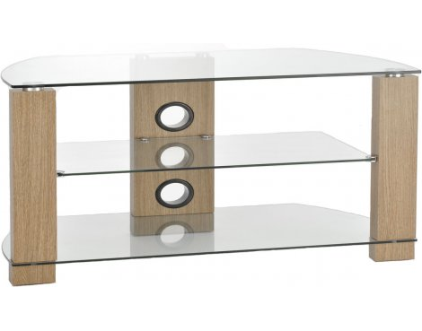 TNW Vision 800 Oak and Clear Glass TV Stand