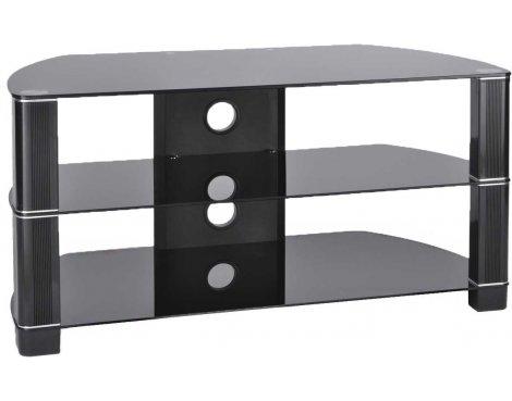 TNW Symmetry 1200 Black Glass Corner TV Stand