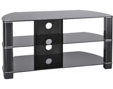 TNW Symmetry 1200 Black Glass Corner TV Stand