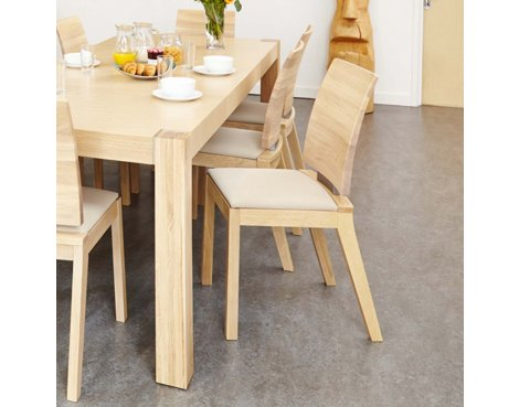 Baumhaus Olten Uno - Ivory Dining Chair in Light Oak Finish (Pack Of Two)