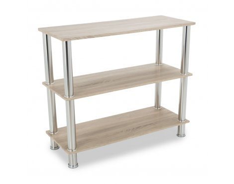 AVF S13OW Wide Three Tier Shelving Unit with Chrome Legs - Whitewashed Oak
