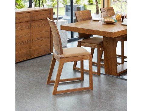 Baumhaus Olten - Cappuccino Dining Chair in Oak Finish (Pack Of Two)
