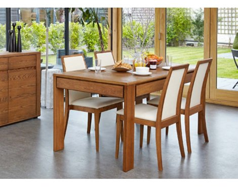 Baumhaus Olten - Extending Dining Table with drawer in Oak Finish