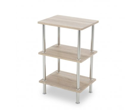 AVF S33OW Low Three Tier Shelving Unit with Chrome Legs - Whitewashed Oak