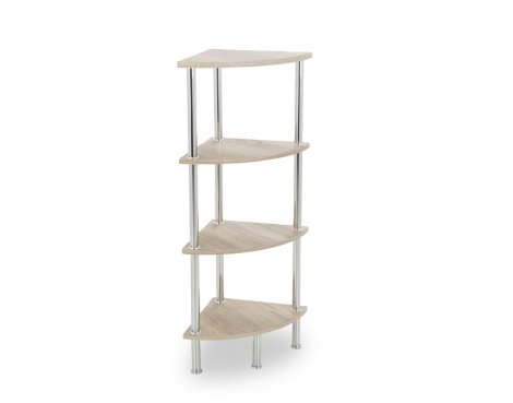 AVF S64OW Corner Four Tier Shelving Unit with Chrome Legs - Whitewashed Oak