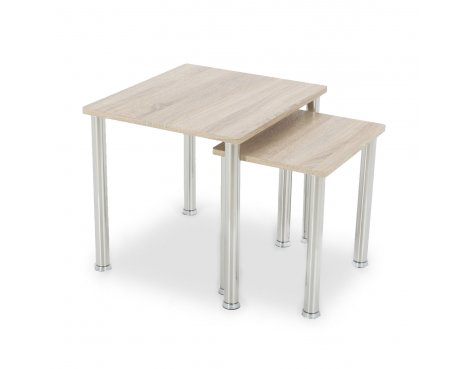 AVF T32WO Nest of 2 Tables with Chrome Legs - Whitewashed Oak